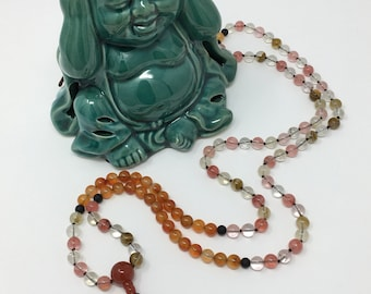 Watermelon Tourmaline Red Agate Hand Knotted Mala