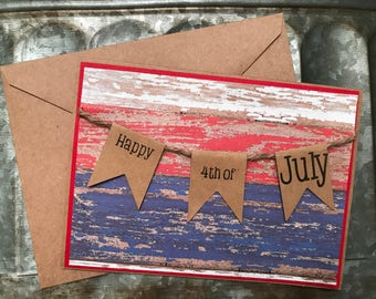 Happy Fourth of July Card, Hand Stamped Fourth of July Card, Stamped Fourth of July Card