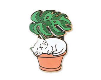 Leaf Me Be - Cat Enamel Pin