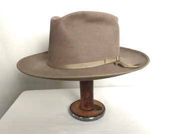 Vintage 1940s/1950s CHAMP Fedora ~ size 7 1/8 to 7 1/4 ~ Hat ~ Wide Brim ~ Open Road Style ~ Bound Edge ~ Thin Ribbon ~