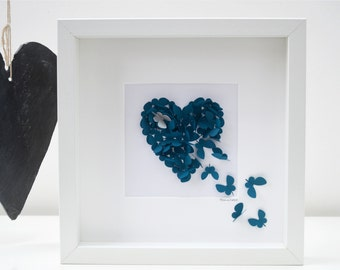 Teal Butterfly Heart with Silver Accent