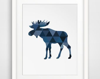 Moose Art, Navy Art, Blue Wall Print, Moose Print, Geometric Animal Art, Moose Wall Prints, Blue Print Art, Moose Artwork