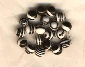 Twenty black and white beads, pattern polkadot circles and lines, 6 mm, black and white beads, jewelry supplies