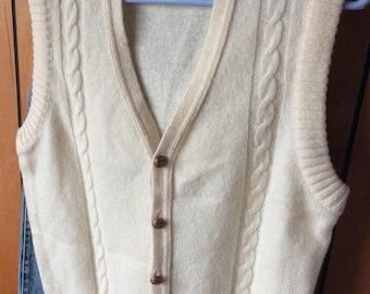 VINTAGE SWEATER VEST, knit, cardigan, cream, cables, Levis, mens m, unisex