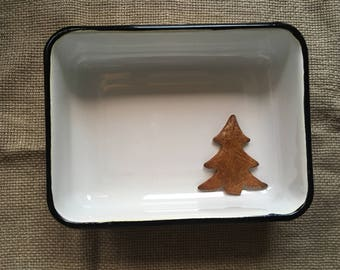 Soviet Vintage White Enamel Tray, Enamel Container, Food storage, made in USSR.