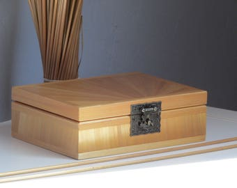 Tea chest - 6 cases - in straw marquetry