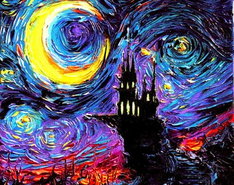 Haunted Castle CANVAS print Starry Night The Haunting of van Gogh Aja 8x8, 10x10, 12x12, 16x16, 20x20, 24x24, 30x30, 36x36 choose