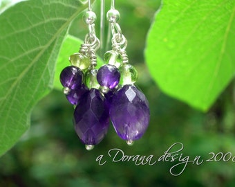 GRAPE LEAVES - Amethyst and Peridot Sterling Silver Dangling Earrings - Handmade by Dorana