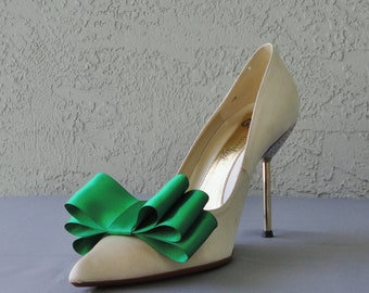 Green Satin Ribbon Bow Shoe Clips Set Of Two, More Colors Available