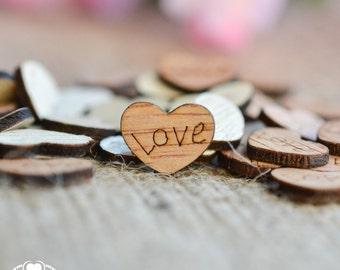 "150 ""Love"" Wood Hearts 3/8"" - Rustic Wedding Decor - Table Confetti - Wooden Hearts - Wedding Invitations"