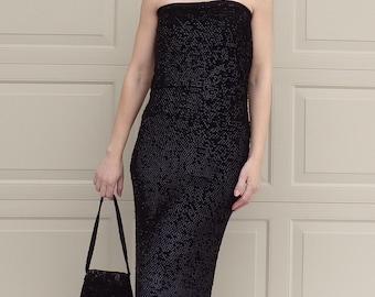 BLACK SEQUIN maxi SKIRT or tube dress 50's 60's xs S M