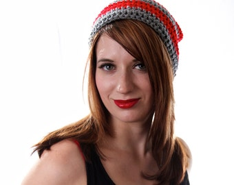 Striped Slouchy Hat, Red and Grey Beanie, Grey Slouchy Hat, Red Slouchy Hat, Unisex Slouchy Hat, Long Beanie, Red and Grey Hat, Slouchy Hat