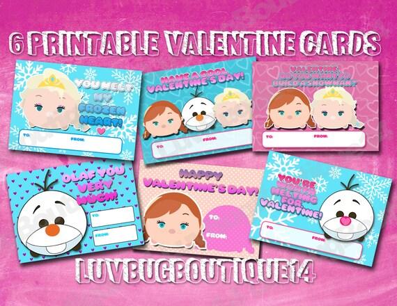 6 Different Tsum Tsum Valentine Cards Kids School Printable