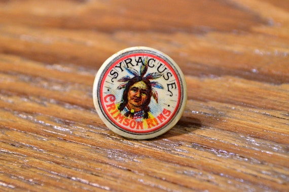 Antique Bicycle Pin Advertising, Syracuse Crimson Rims Lapel Stud, Early 1900s Indian Advertising
