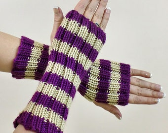 Fingerless Gloves - Striped Knit Arm Sleeves - Purple Beige Stripes Fingerless Mitts - Slouch Texting Gloves - Fingerless Arm Warmers -