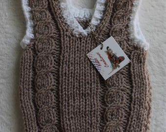 Hand-Knit Sweater Vest for Infants and Babies, Acrylic