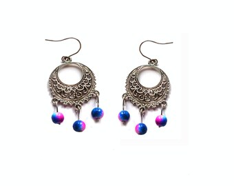 Boho Chandelier Earings with Stunning Cerise and Blue Beads
