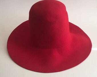 Vintage 70s Belvedere Floppy Hat Red 100% Wool Felt