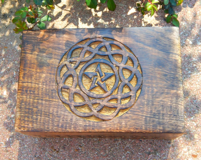 ALTAR BOX Pentacle Celtic Knot work design wooden carved box - with KIT option includes custom herbal blends and crystals