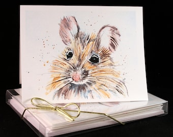 Set of Original PRINT Watercolor Baby Mouse cards, Animal Note Cards/Greeting Cards (Set of Four)watercolor Cards