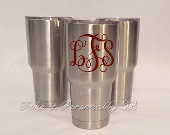 SALE - Monogram Tumbler - 30 oz Stainless Steel Tumbler - Monogrammed Cup - Yeti Tumbler Inspired - RTIC Inspired - Monogram Vinyl Decal