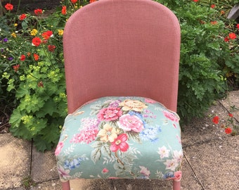 Vintage Pink Wicker Chair with Floral Seat