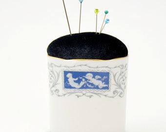 Pincushion 'Cupid' vintage Coalport bone china repurposed