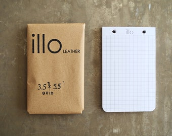 "60 sheets, 3.5""x5.5"", extra notebook paper for Illo Leather refillable notebooks 80lb Rolland Enviroprint 100% post consumer recycled paper"