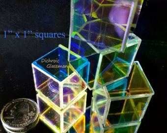 Dichroic Borosilicate Glass Infinity Mirror Optical 1 inch squares .060mm - 25 pieces