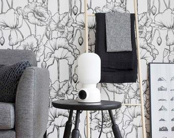 Poppy Pattern Wallpaper, Removable Wallpaper, Poppy Wallpaper, Poppy Wall Sticker, Poppy Wall Decal, Poppy Pattern Adhesive Wallpaper, 057