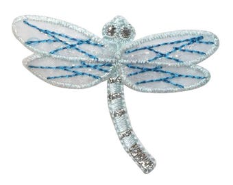 ID 0475B Dragonfly With Lace Patch Garden Fairy Bug Embroidered Iron On Applique