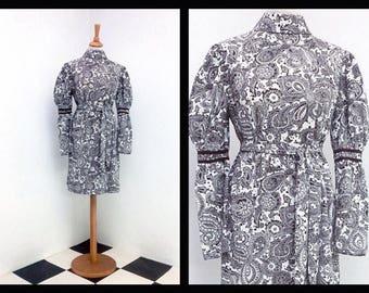 vintage dress with boho brown pattern