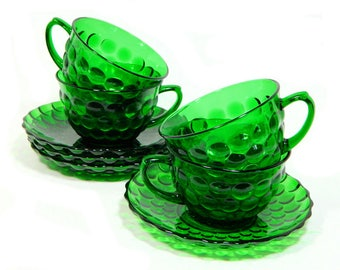 Four Anchor Hocking Glass Emerald Green Bubble Cups and Saucers