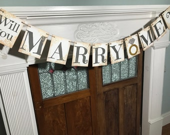 Will You Marry Me Banner, Marriage Proposal, Rustic Marry Me Sign