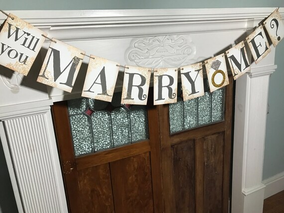 Will You Marry Me Banner Marriage Proposal Rustic Marry Me