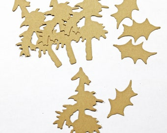 Tim Holtz Mini Pine Tree & Holly Set of 4 Craft Card Stock Paper