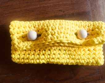 Wood n wool Clutch - Yellow