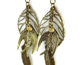 Swallow Earrings, birds, feather leaf, bronze, gypsy, cosplay, renaissance, musical jewelry