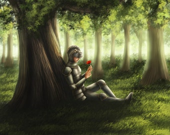 Knight Holding a Flower Sitting Under a Tree - Fantasy Art, , Digital painting, Fine Art, Magical Painting, Colorful, Magical Art, Fine Art
