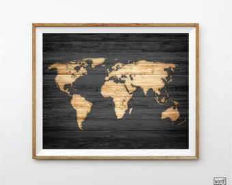 Rustic World Map Poster, Vintage Map of the World, Wood Look World Map print, Travel Decor, Travel Poster, Rustic Wall Decor Wood Map Look