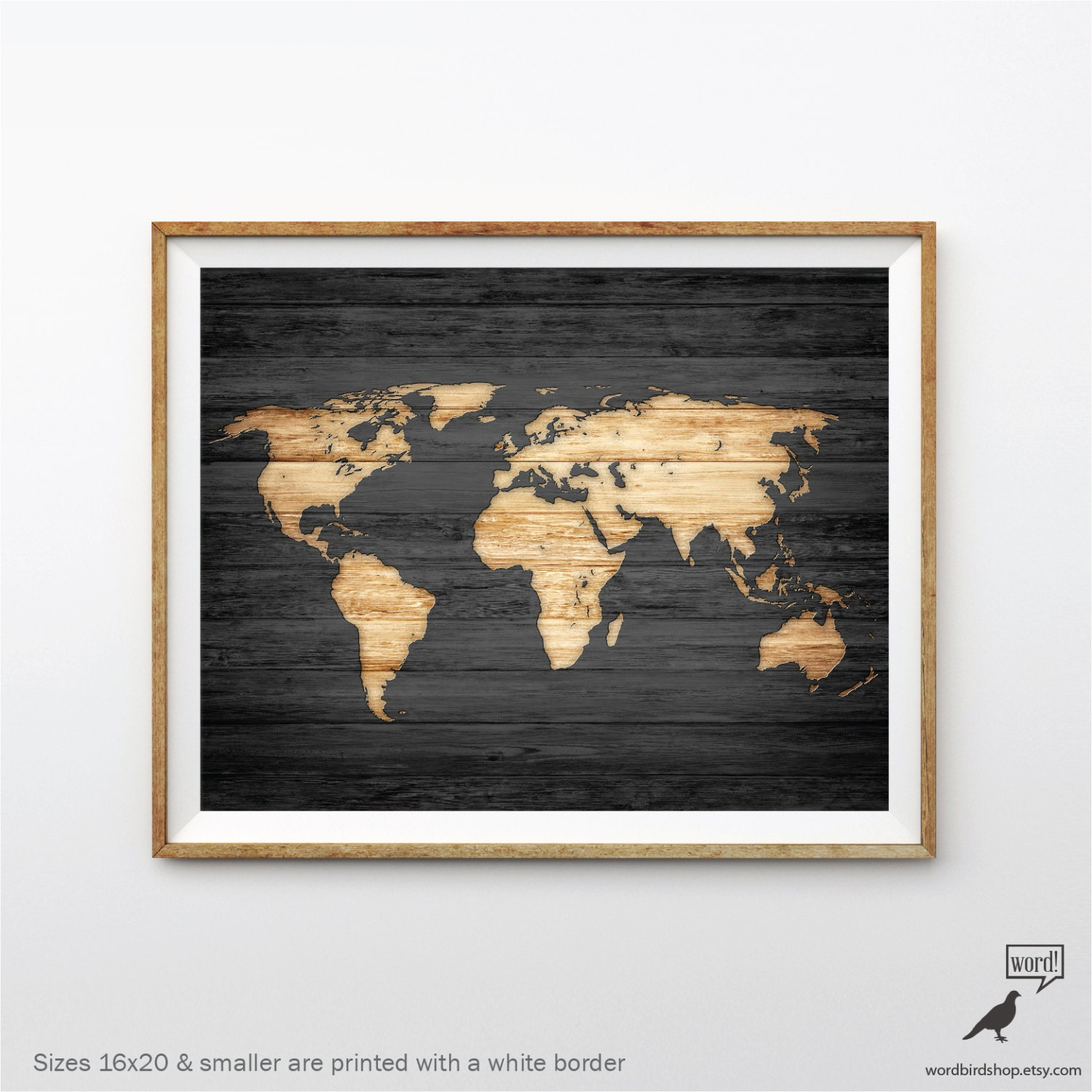 Rustic world map poster vintage map of the world wood look zoom gumiabroncs Gallery