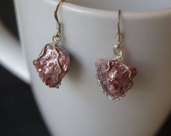 Small Pink Silver Wire Wrapped Dangle Earrings Lepidolite Mica