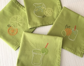 Citrus Drinks Napkins Lemon Lime Hand Embroidered