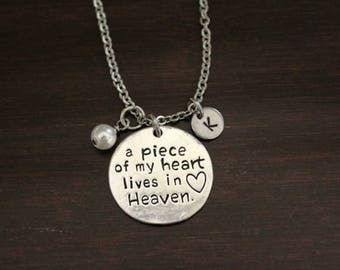A Piece of my Heart Lives in Heaven Necklace - Memorial Necklace - Child Necklace - Loved One In Heaven - Memorial Necklace-Memorial - I/H&B