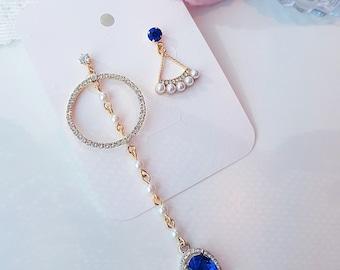 Unbalanced earrings, Dangling Cobalt blue rhinestone earrings, pearl earrings