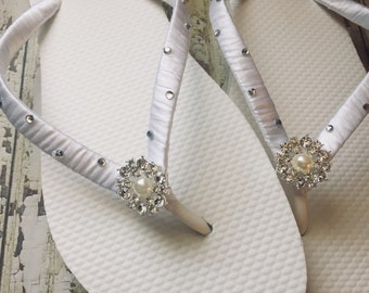 Kristen Bridal Flip Flops, Custom Flip Flops, Bling Pearl Dancing Shoes, Rhinestone Bridal Sandals, Wedding Flip Flops, Beach Wedding Shoes