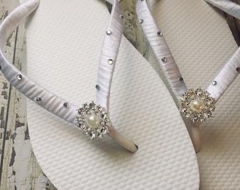 Kristen Bridal Flip Flops, Custom Flip Flops, Bling Pearl Dancing Shoes, Rhinestone Bridal Sandals, Wedding Flip Flops, Beach Wedding Shoes