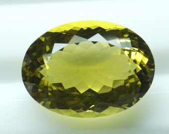 AAA Quality Natural Lemon Quartz Stone ( Green Gold Quartz ) Faceted Oval Making Elegant Pendant