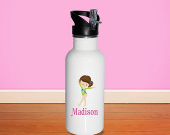 Gymnastic Kids Water Bottle - Gymnastic Girl Green Suit with Name, Child Personalized Stainless Steel Bottle BPA Free Back to School