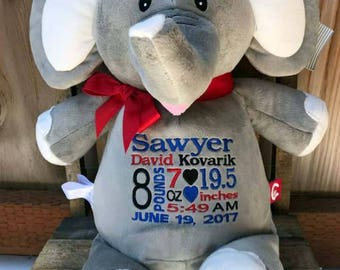 Personalized Baby Gift. Elephant Stuffed Animal. Embroidered Birth Announcement. New Baby Boy Girl Gift. World Class Embroidery.